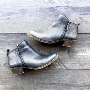 Lucky Brand metallic zip up booties